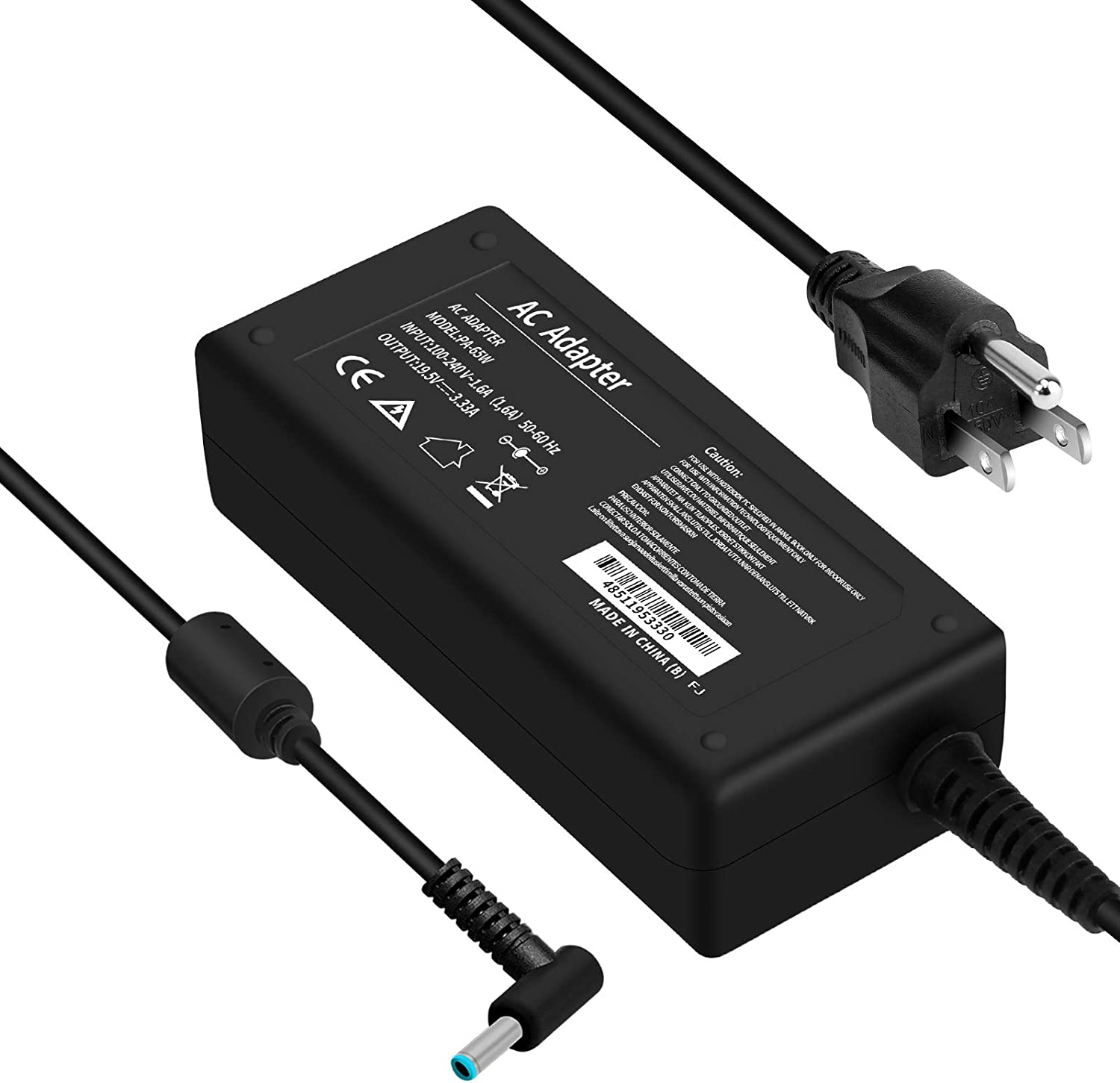 65W Laptop Charger for HP, 19.5V 3.33A AC Power Adapter for HP Pavilion 11 13 15, HP Stream 13 11 14, HP Spectre Ultrabook 13, 4.5X3.0 mm Smart Blue Tip, Power Cord Included