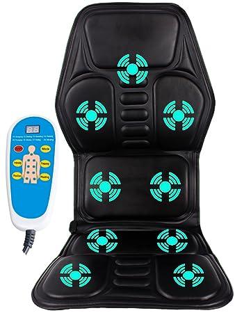 Jorlyen Car Seat Massager Vibrating Shiatsu Heat Back Cushion Pad For Truck Chair