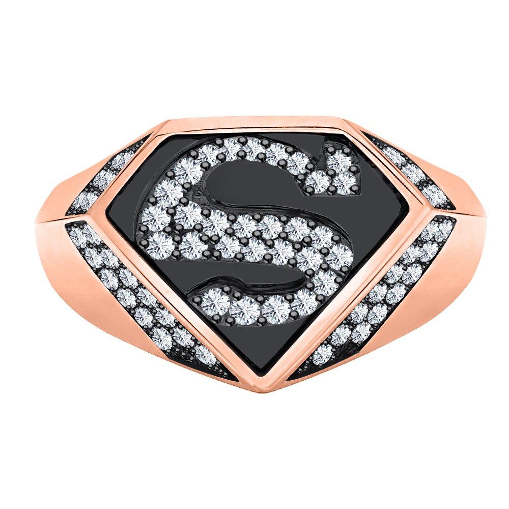 RUDRAFASHION 1.33 CT Round Cut Black CZ Diamond 14K Black /& Rose Gold Plated Superman Logo Shield Men/'s Ring