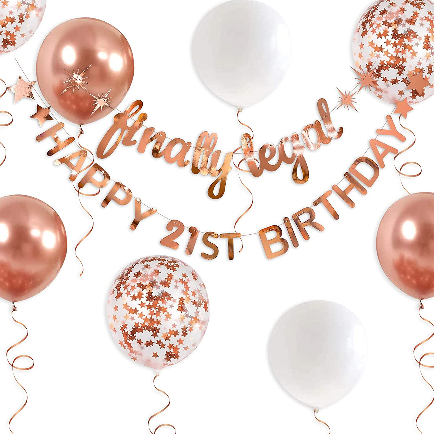 Rose Gold Finally Legal Happy 21st Birthday Banner Garland for 21 Birthday Decorations Hanging Finally Twenty One Birthday Party Decor for Girls 21st Birthday Decorations Party Supplies for Her