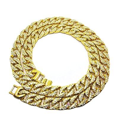 9113690ea635 LUOEM Elegante collar para hombre Hip Hop Jewelry Diamantes de imitación de  cristal Diamantes Collar de cadena de eslabones chapado en oro de Cuba 75  ...