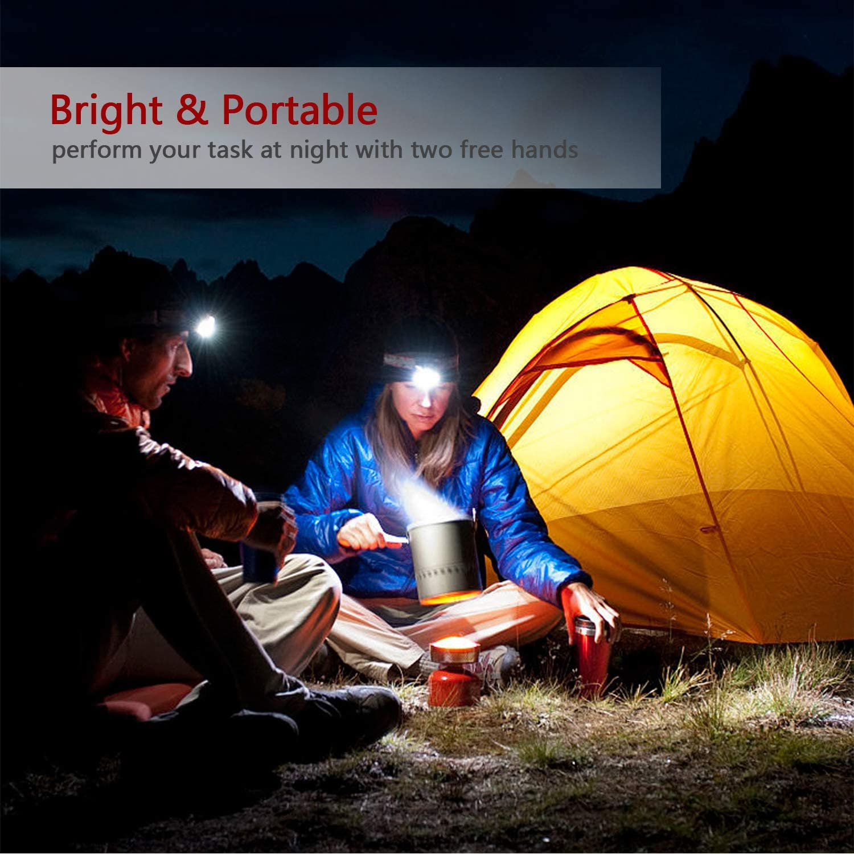 Ichiias LED Faro USB L/ámpara de Cabeza para Acampar al Aire Libre Senderismo Escalada Pesca