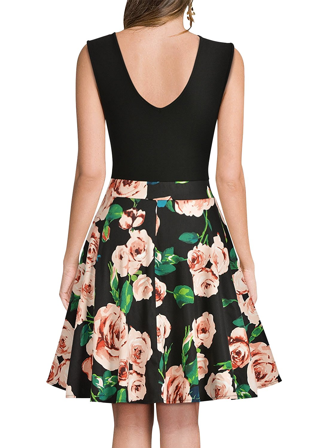 Yidarton Women's Summer Casual V Neck Flare Floral Contrast Evening Party Short Mini Dress Black S by Yidarton (Image #2)