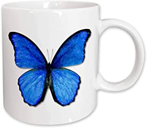 3dRose Photo Illustration Blue Butterfly Ceramic Mug, 15-Ounce