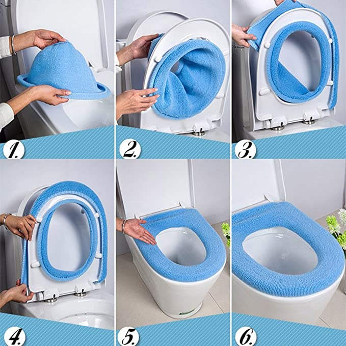 Sylvialuca 1pc Washable Comfortable Cloth O-Shaped Warm Toilet Seat Cover Mat Pad For Bathroom Home Bathroom Toilet Cushion Pads