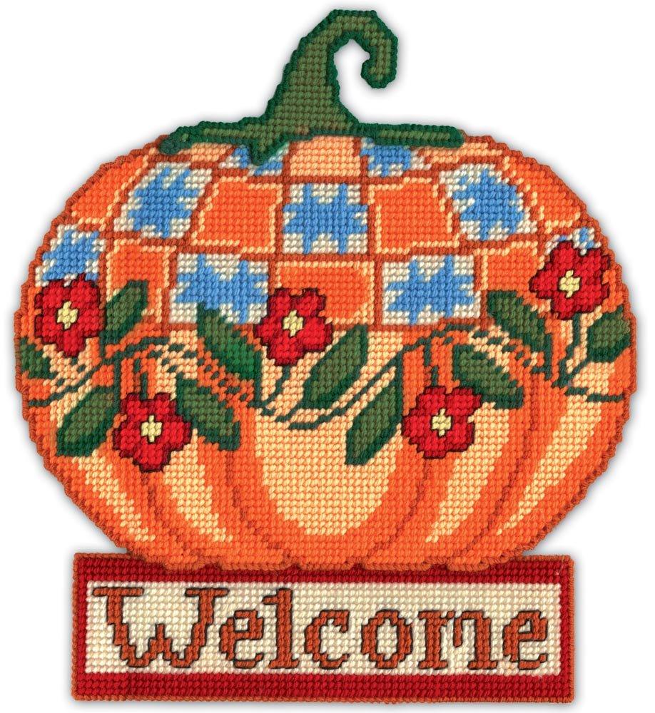 Design Works Crafts 2281 Welcome Pumpkin, 13 X 15 Plastic Canvas, Welcome Pumpkin