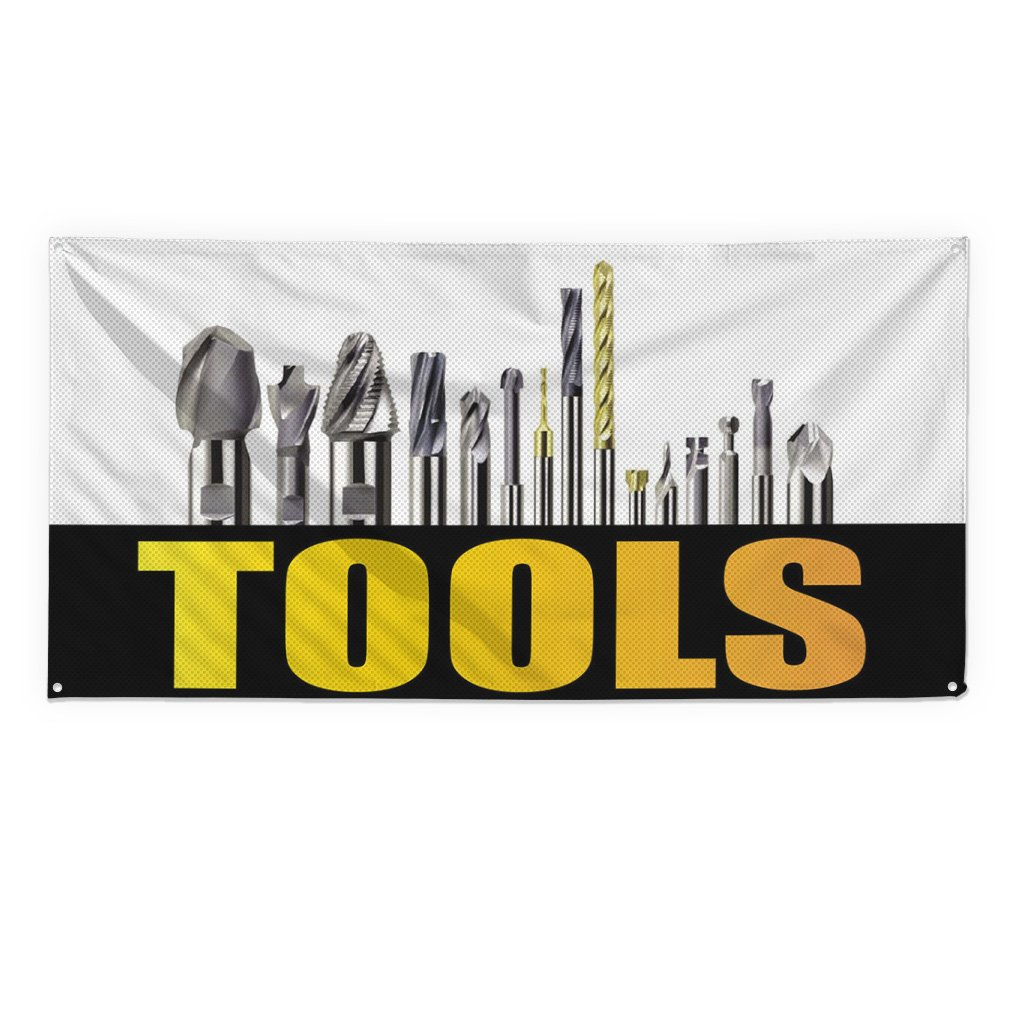 Tools #1 Outdoor Fence Sign Vinyl Windproof Mesh Banner With Grommets - 2ftx3ft, 4 Grommets