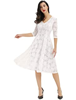 964c1f3b874a Noctflos Women's 3/4 Sleeves Lace Fit & Flare Midi Cocktail Dress for Women  Party