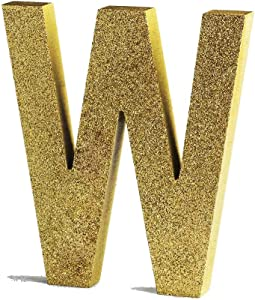 Gold Decorative Wood Letters, Hanging Wall Letters Wooden Alphabet Wall Letter W for Home Bedroom Wedding Birthday Party Decor-Letters (W)