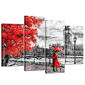 Kreative Arts - 4pcs Contemporary Wall Art Black White and Red Umbrella Couple in Street Big Ben Oil Painting Printed on Canvas Romantic Picture Framed Artwork Prints for Walls Decor
