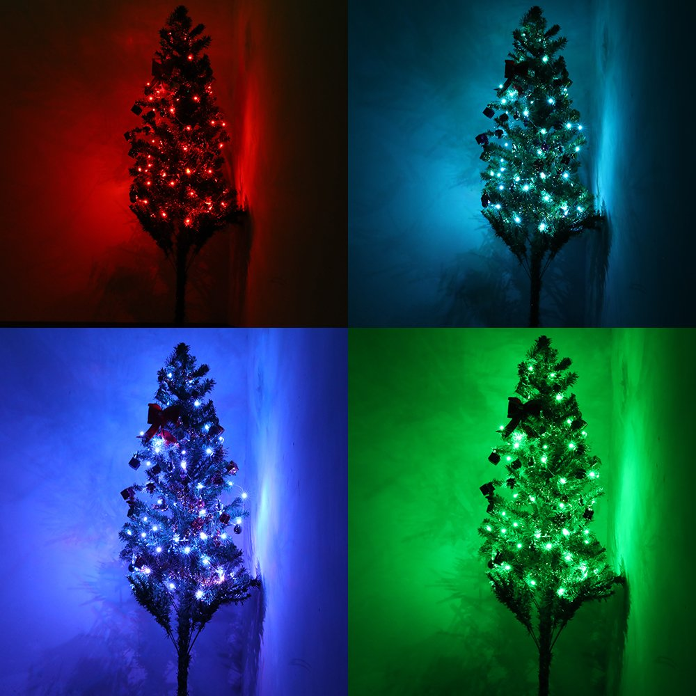 Copper Wire String LED Fairy Lights - Qoolife 16.4ft 50 Beads with 4 Combined Copper Wires Decorative Lights Battery Powered Multi Color String LED Lights for Bedroom, Decoration, Patio and Wedding