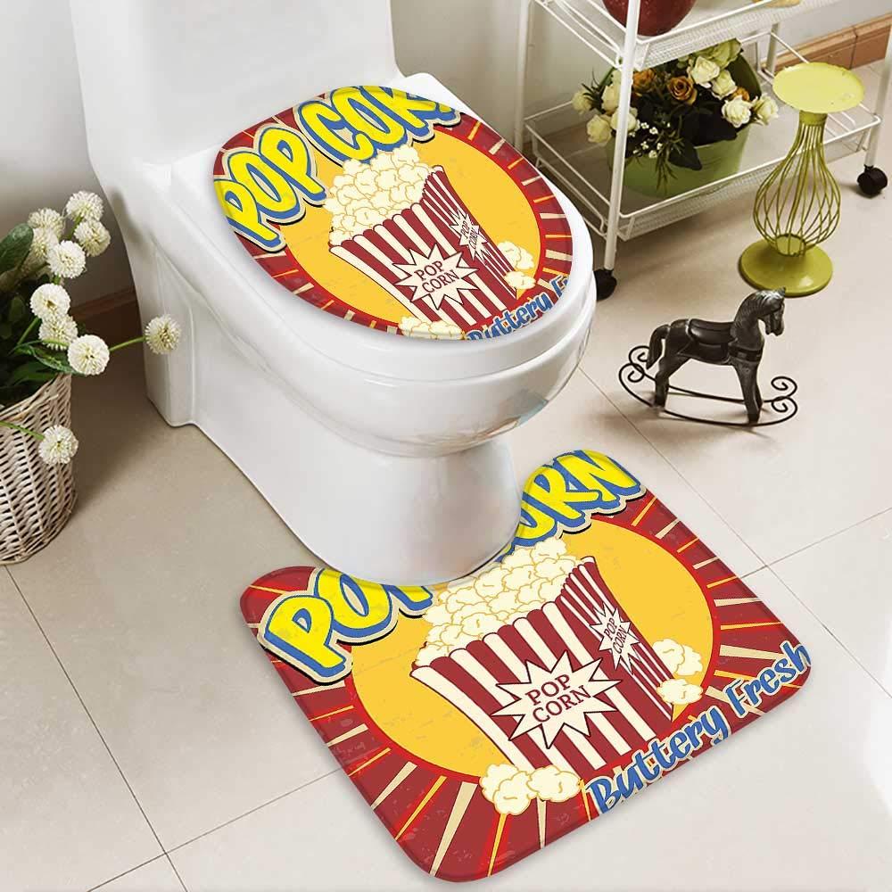 SOCOMIMI 2 Piece Anti-Slip mat Set Vintage Grunge Style Pop Corn Commercial Print Old Fashioned Cinema Movie Film Snack Printed Rug Set