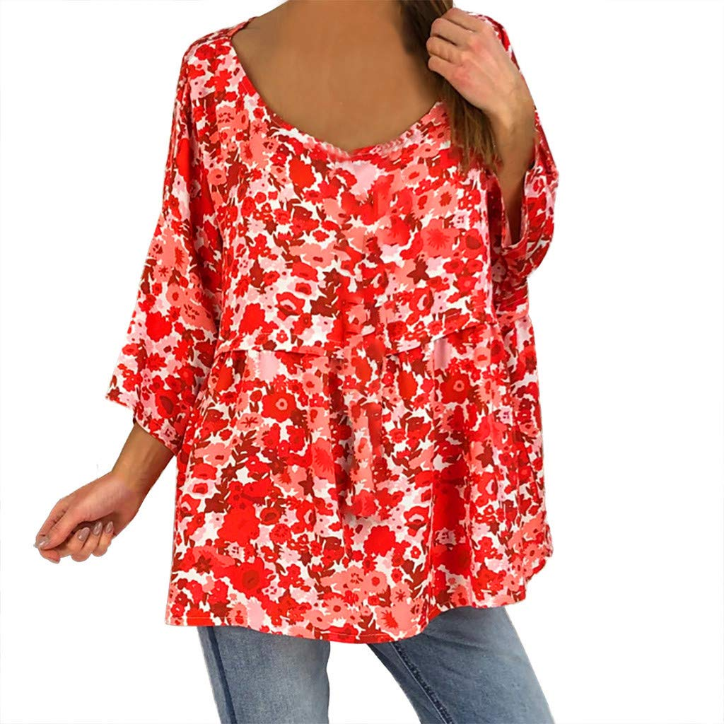 Sanyyanlsy Womens Casual Floral Print Ruched Half-Sleeved Blouse Vest O-Neck Ladies Long Shirt Tank Tops Layed T-Shirt