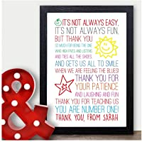 Thank You Teacher Gift, Personalised Poem Gift for Teachers, Best Teacher Gift - Thank You Gifts for Teachers, Teaching Assistants, TA, Nursery Teachers - ANY NAMES - A5, A4 Prints and Frames