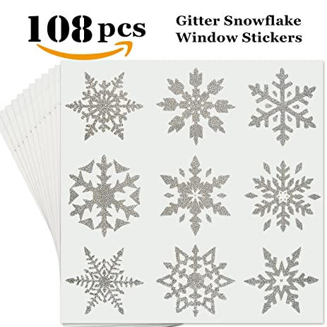 Amazoncom Pawliss Snowflake Window Stickers Glitter Christmas - Snowflake window stickers amazon