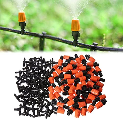 KING DO WAY 50pcs Adjustable Garden Irrigation System Watering Sprayer Misting Nozzles Sprinkler Heads with Barbed Tee Connectors
