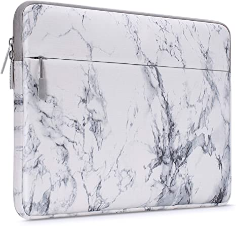 MOSISO Laptop Sleeve Bag Compatible with 13-13.3 inch MacBook Pro, MacBook Air, Notebook Computer with Accessory Pocket, Protective Canvas Marble ...