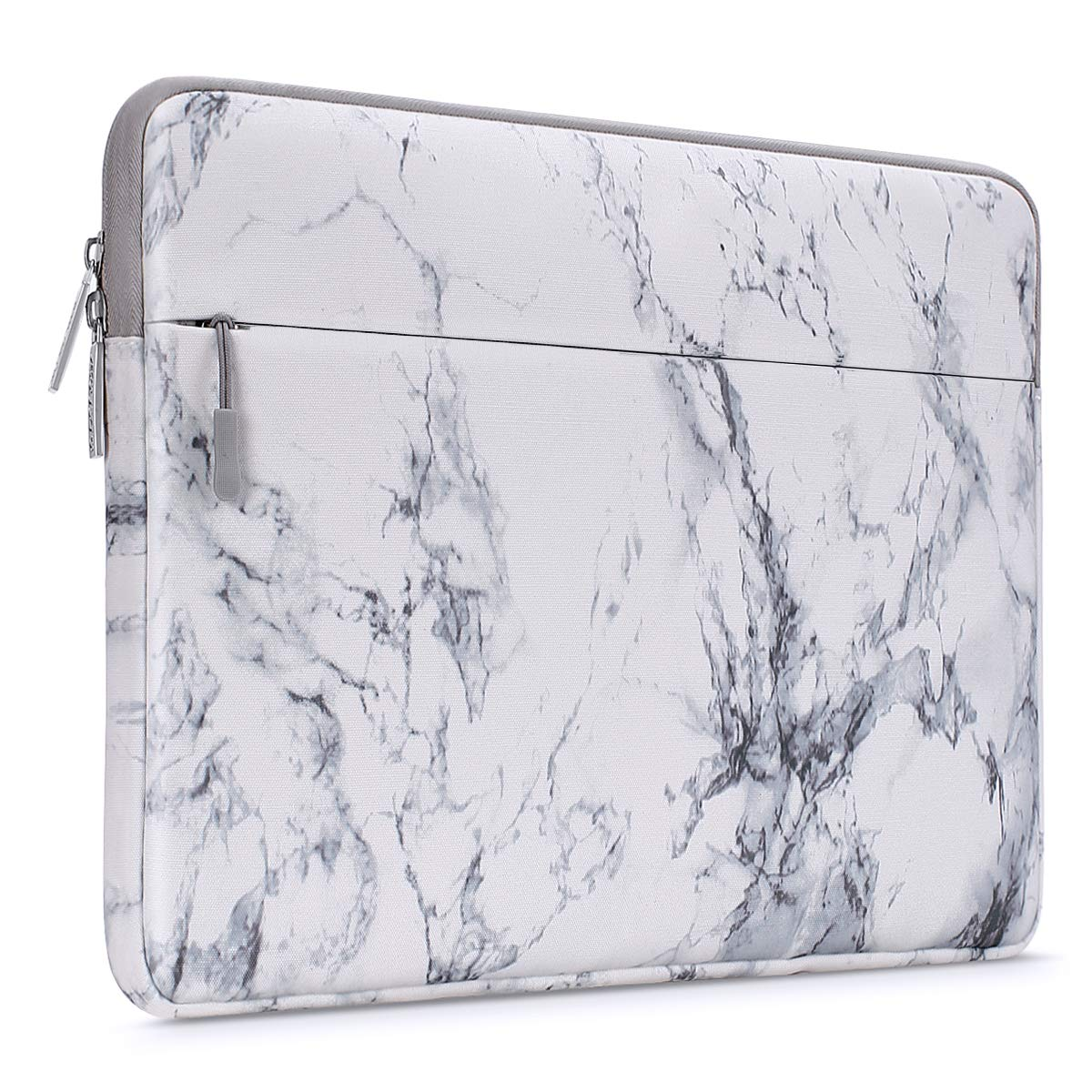 MOSISO Laptop Sleeve Bag Compatible with 13-13.3 inch MacBook Pro, MacBook Air, Notebook Computer with Accessory Pocket, Ultraportable Protective Canvas Marble Pattern Carrying Case Cover, White by MOSISO