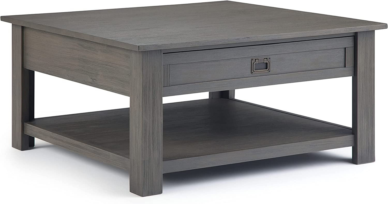 SIMPLIHOME Monroe SOLID ACACIA WOOD 38 inch Wide Square Rustic Contemporary Coffee Table in Farmhouse Grey, for the Living Room and Family Room