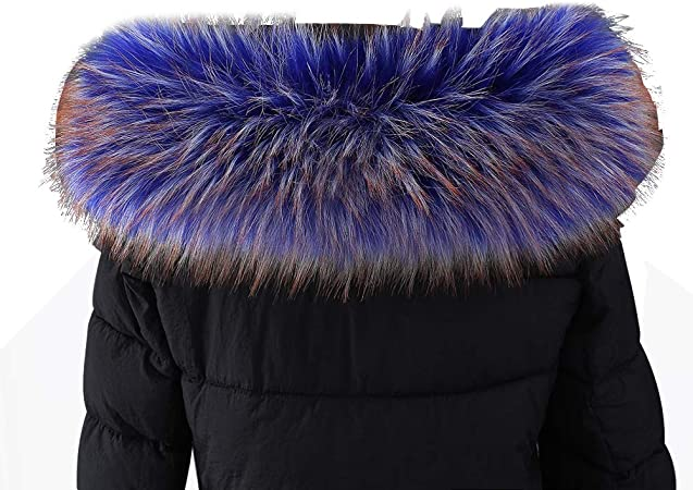 Amorar Bufanda De Pelo De Imitación Para Mujer Cuello De Pelo Para Invierno Cálida Para Capucha Cuello De Piel Sintética Para Abrigo De Invierno Con Botones Azul Y Marrón 60cm Amazon Es