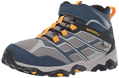 95a1655f18 Merrell Moab FST Mid A/C Waterproof Boot Big Kid 7 Navy/Stone