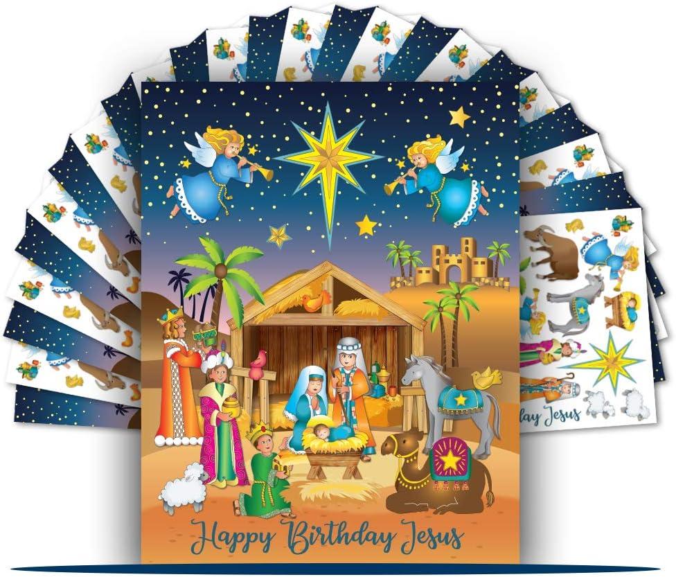 Colonel Pickles Novelties Nativity Stickers – 12 Sticker Sheet Sets – Christmas Crafts for Kids