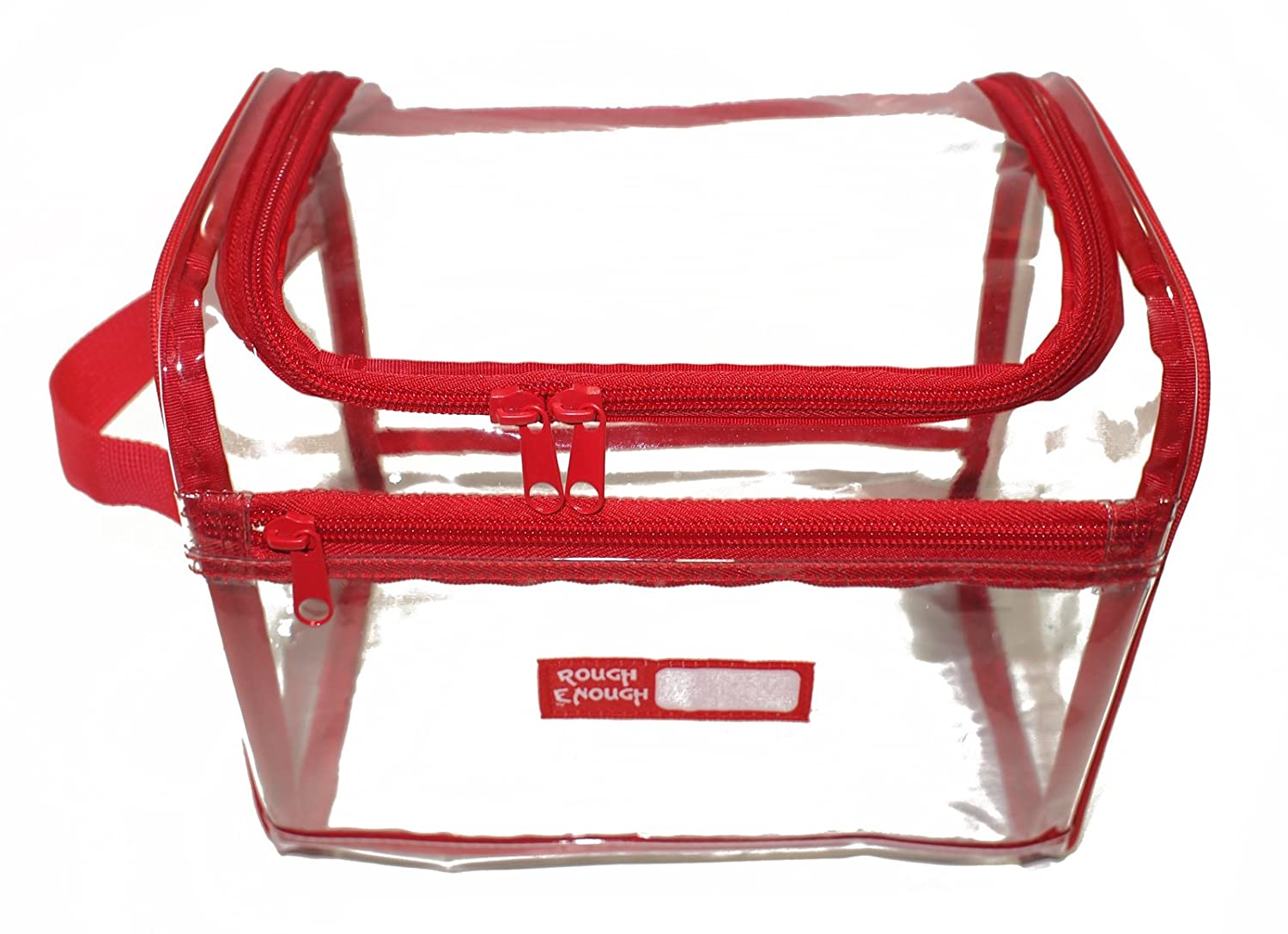 amazoncom rough enough tsa clear transparent large toiletry bag big volume red piping health u0026 personal care