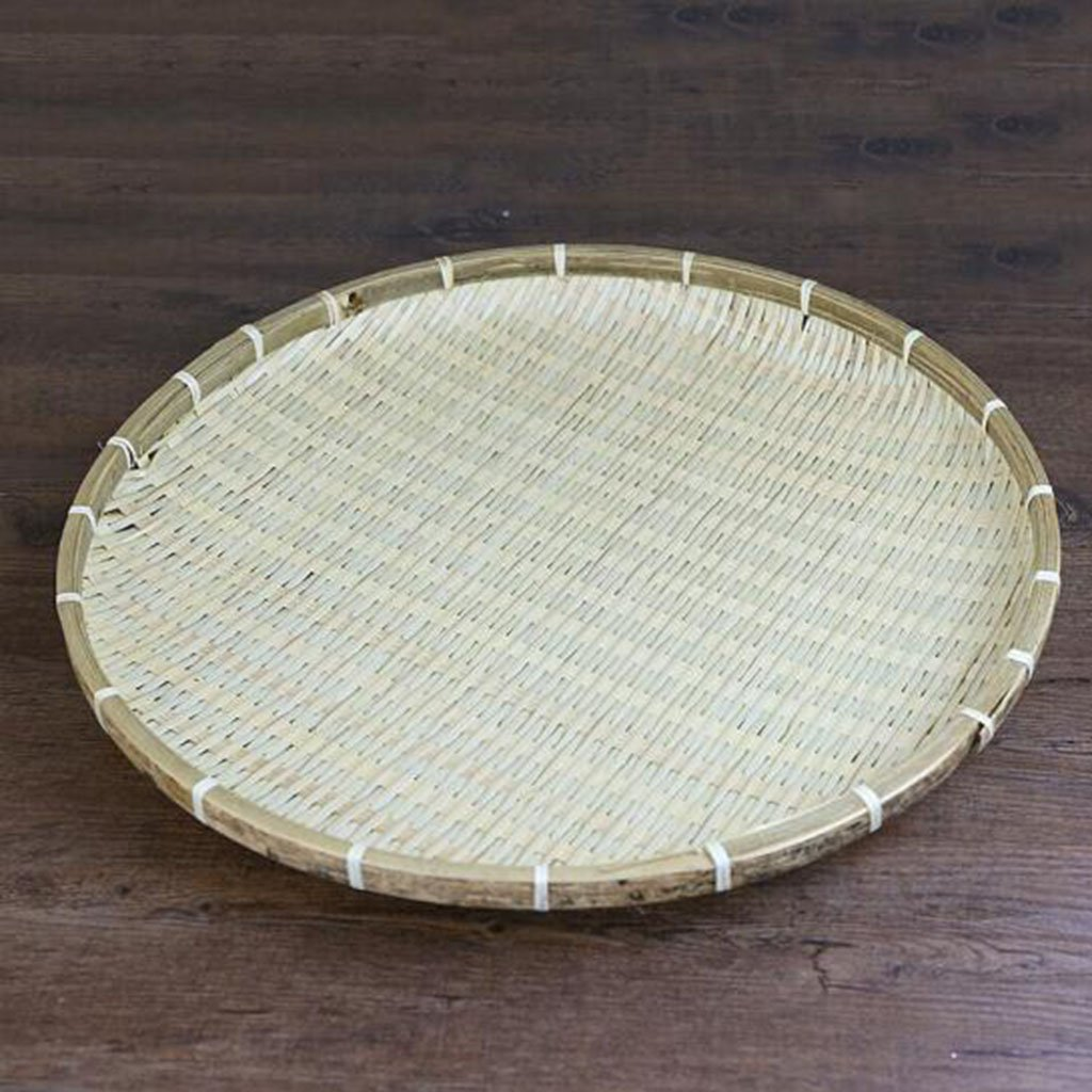 Bamboo basket Handmade natural bamboo anti mosquito round dustpan Creative dry goods drying screen Shau Kei dustproof baskets 60cm Fruit gift basket ( Size : 30cm ) ZHZ-Bamboo basket
