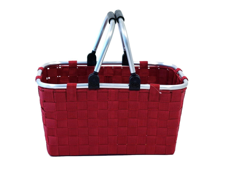 Rectangular Franz M/üller Flechtwaren 50580F28 Shopping Basket 40.5 x 29 x 21 cm With Folding Clamp Light Green Nylon Wicker