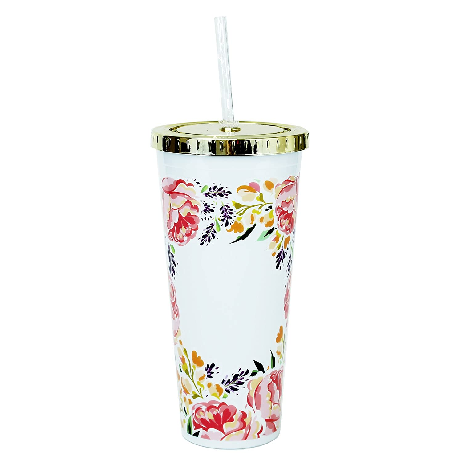 Mary Square 20079 Floral Coral 24 oz. Straw Tumbler W/Gold Lid, Casual