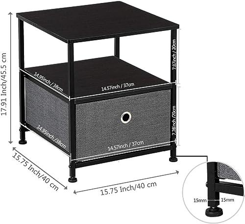 LeafRed C Nightstand 1-Drawer Shelf Storage
