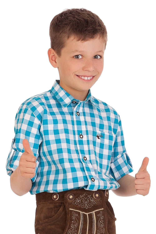 Trachten Kinderhemd - Ki-H039 - PAULI - türkis, apfelgrün