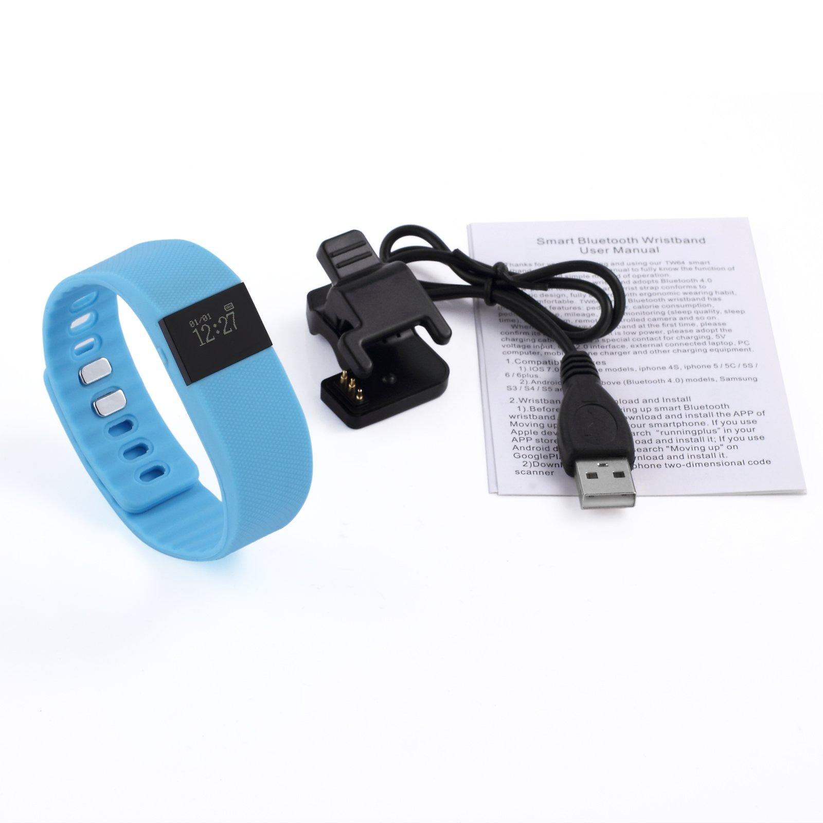 ESYNIC Fitness Activity Tracker Smart Pedometer Watch Sports Wrist Band TW64 Bluetooth