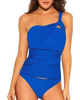 175e47f97dff1 Funnygirl Womens One Shoulder Tankini Set Ruched Tummy Control 2 Piece  Bikini Set Swimsuit Beach Swimwear