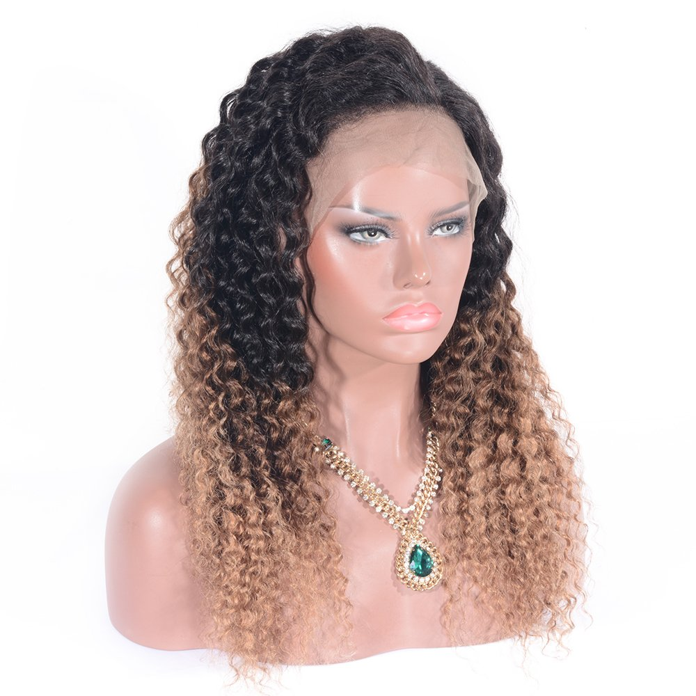 Amazon.com : SWEETMM 1b27 Color Jerry Curl Shoulder Length Real Human Hair wigs for Black Women 130% (14