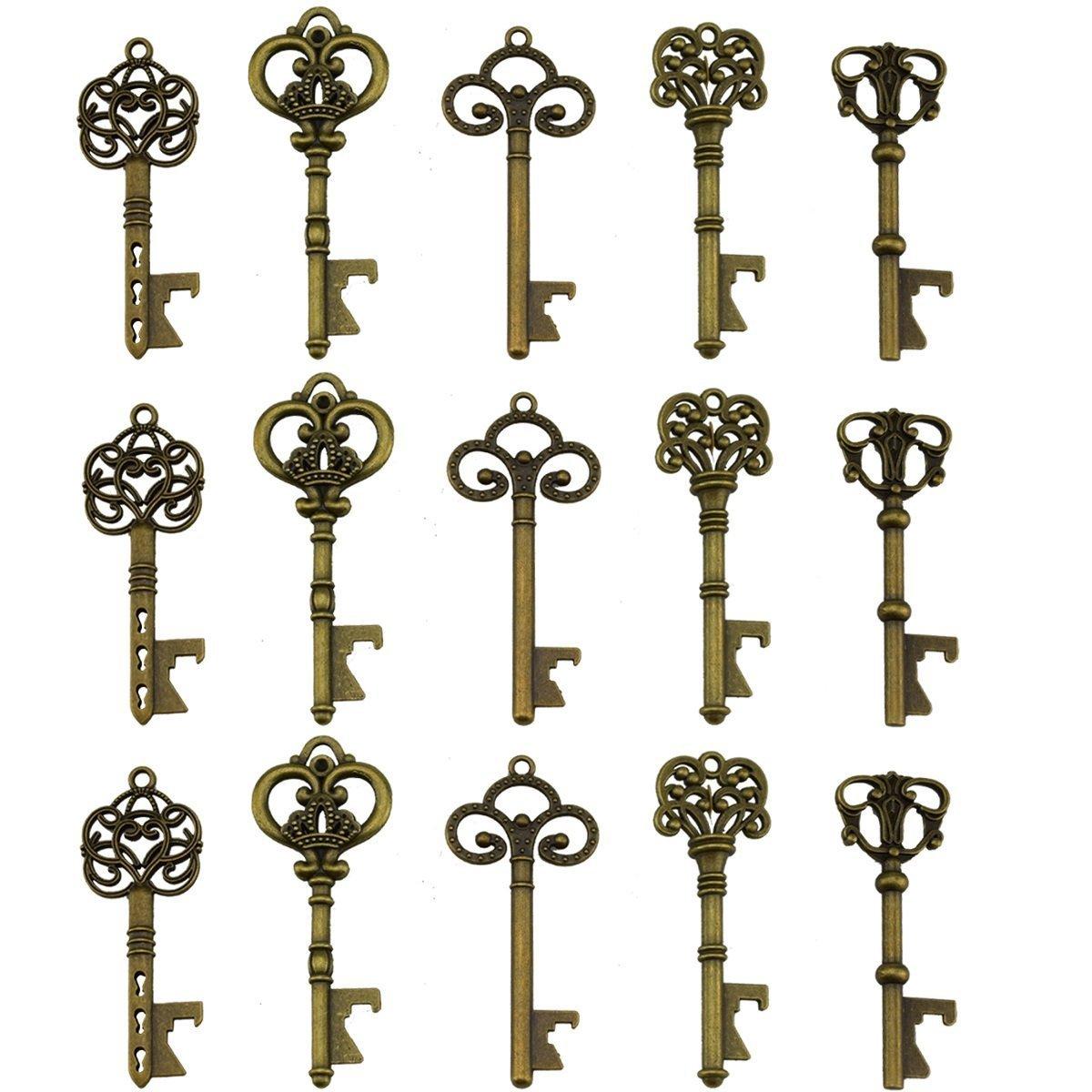 Portachiavi apribottiglie - assortiti vintage Skeleton Keys, matrimonio, feste, confezione da 70, bronzo) EVINIS