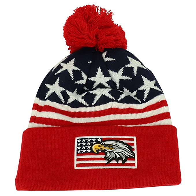 3366028cf74 Armycrew USA American Flag Eagle Embroidered Pom Pom Cuff Beanie Hat - RED  Navy