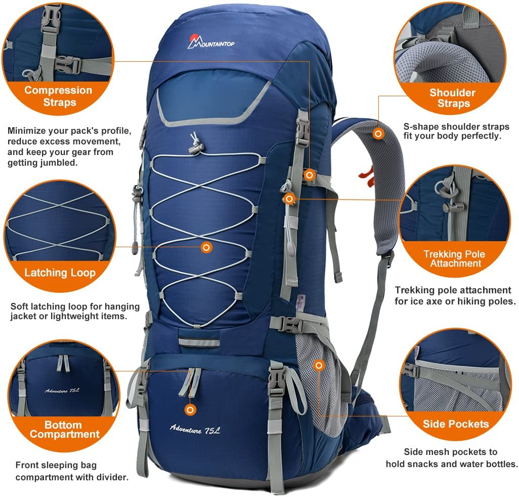 MOUNTAINTOP 75L 80L Sac a Dos randonn/ée Trekking Camping Voyage Alpinisme avec Couverture de Pluie