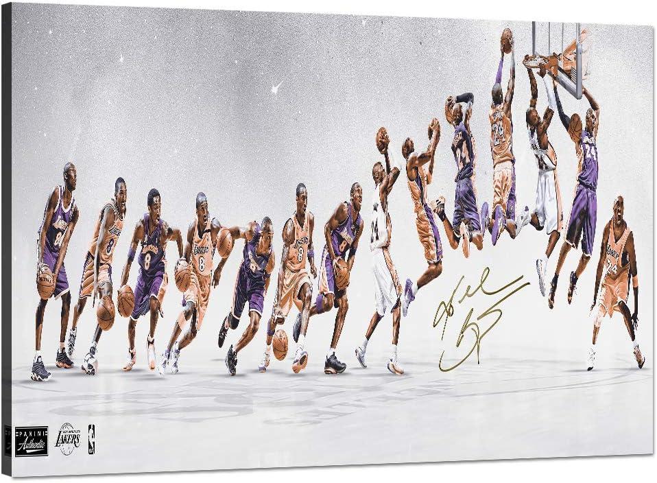 "Kobe Bryant Canvas Wall Art LA Lakers Kobe Forever Legend 8th 24th Picture Kobe Lifetime Framed Artwork for Home Wall Decor Black MaCanvas Print for Men Boys Room Decor [18"" Wx 12"" H]"