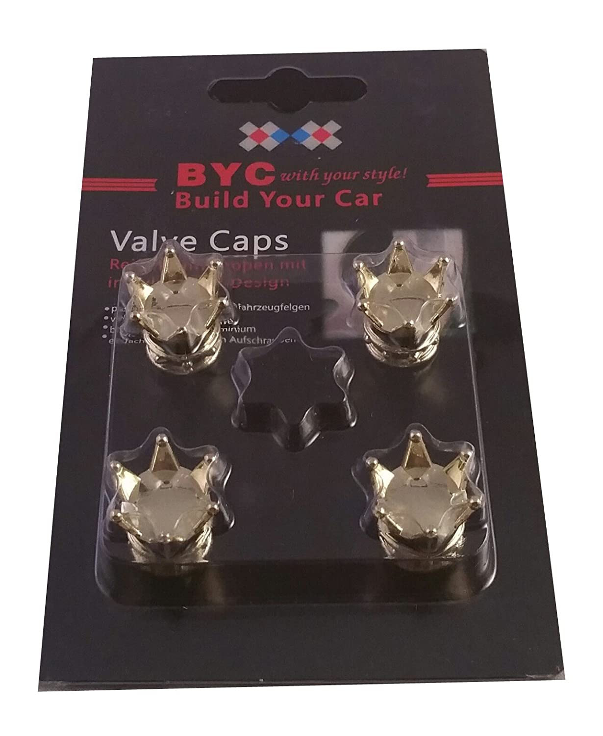 Gold Crown Alloy Car Wheel Tire Tyre Valve Dust Caps Covers Tire Set of 4 Gold