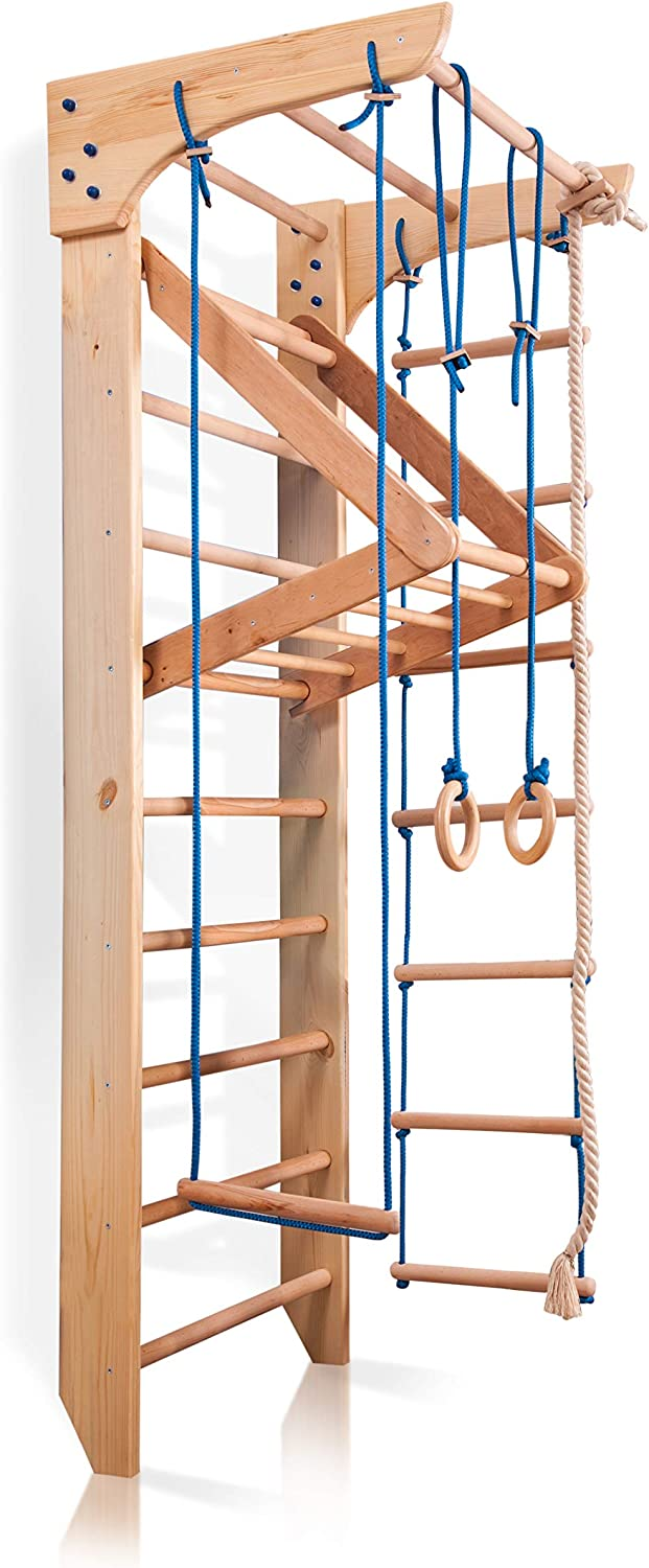 """Wall Bars for Kids, Wood Stall Bar, Wooden Swedish Ladder,Kinder-4"""" - Certificate of Safe USE Home Gym Gymnastic, Climbing Kids, Indoor Children Playground 87"""" x31.5"""