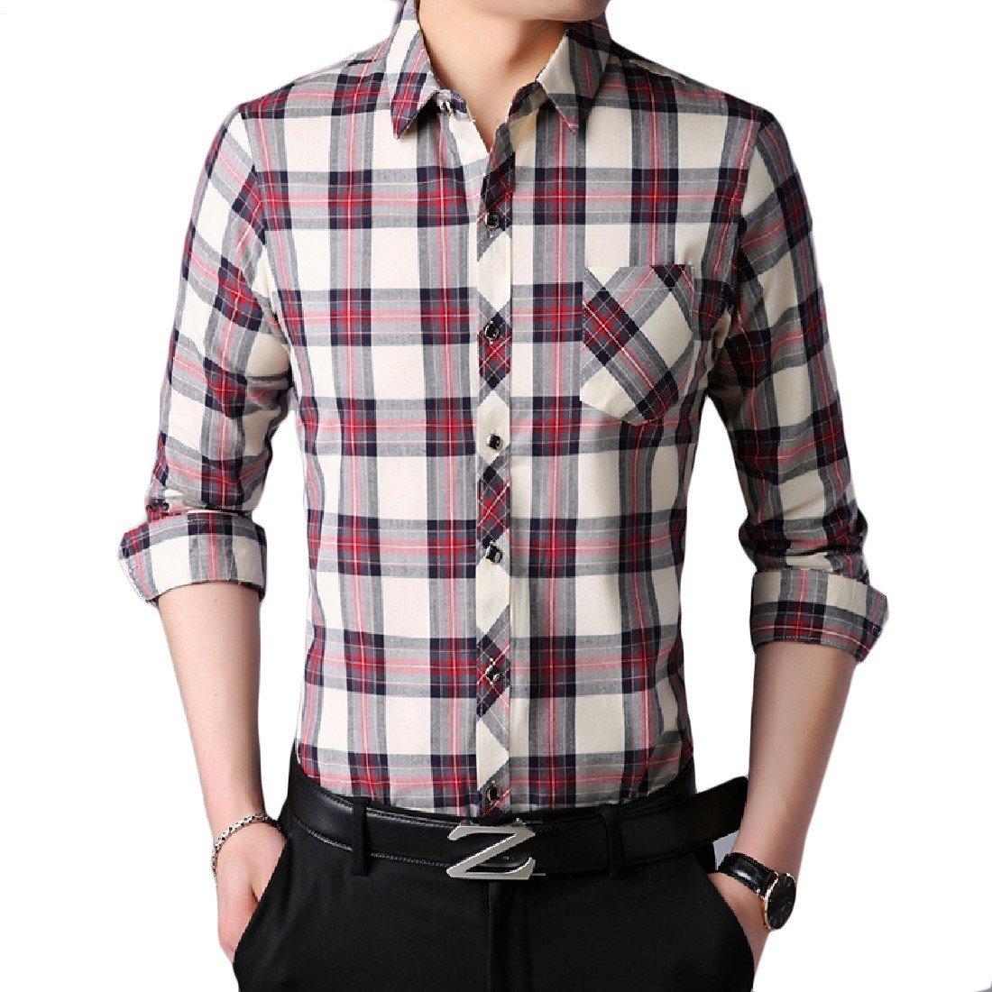 YUNY Mens Oversize Long Sleeve Cotton Plaid Skinny Dress Shirts Top Red L