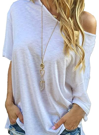 Minetom Mujer Moda Off Shoulder Camiseta Casual Mangas Cortas Blusa Blanco 34