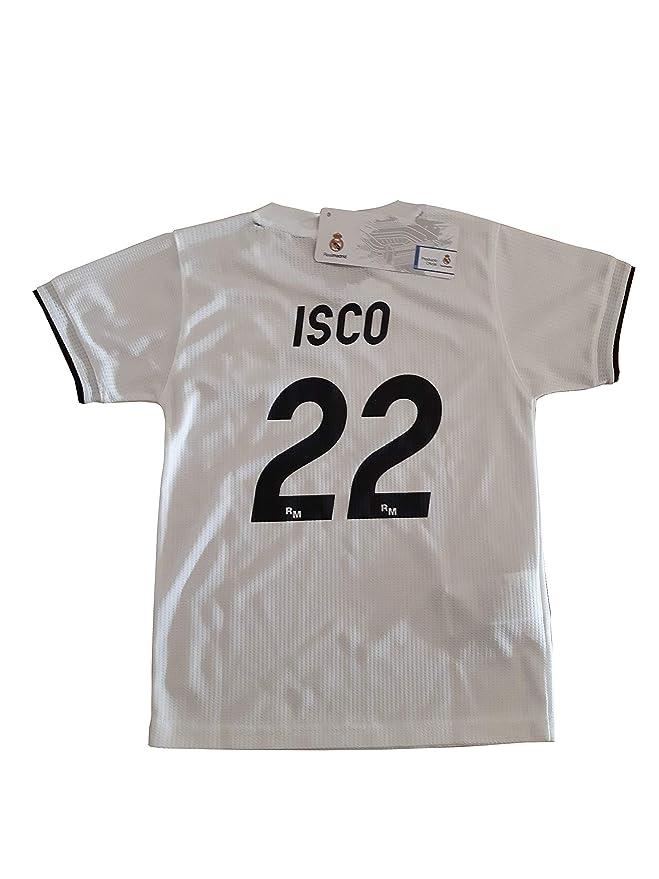 Conjunto Camiseta y Pantalon 1ª Equipación 2018-2019 Real Madrid - Réplica  Oficial Licenciado - Dorsal 22 ISCO  Amazon.es  Deportes y aire libre f29af40b94b