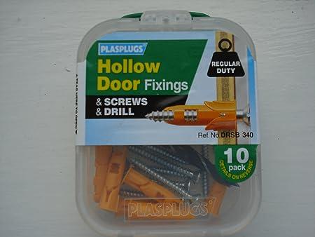 Plasplugs Hollow Door Fixings u0026 Screws u0026 Drill ... & Plasplugs Hollow Door Fixings u0026 Screws u0026 Drill 10 Pack: Amazon.co.uk ...