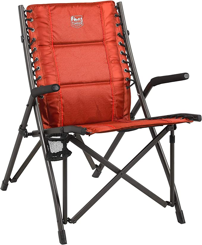 Support up to 300 lbs TIMBER RIDGE High Back Folding Camping Rocking Chair Hard Armrest
