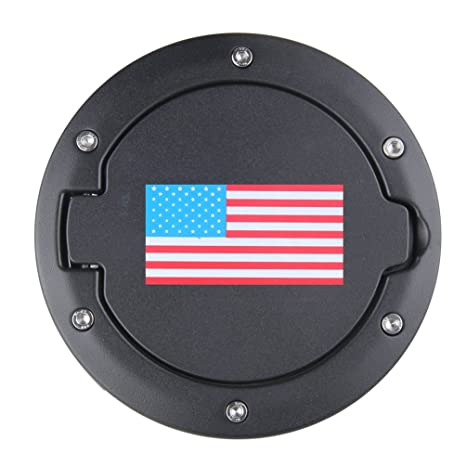 img buy US Flag Gas Cap Cover for Jeep Wrangler JK Sport Rubicon Sahara Gas Tank Cap Cover Fuel Filler Door 2007-2018