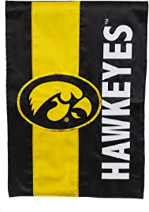 Team Sports America Collegiate University of Iowa Embroidered Logo Applique Garden Flag, 12.5 x 18 inches Indoor Outdoor Double Sided Decor for Collegiate Fans