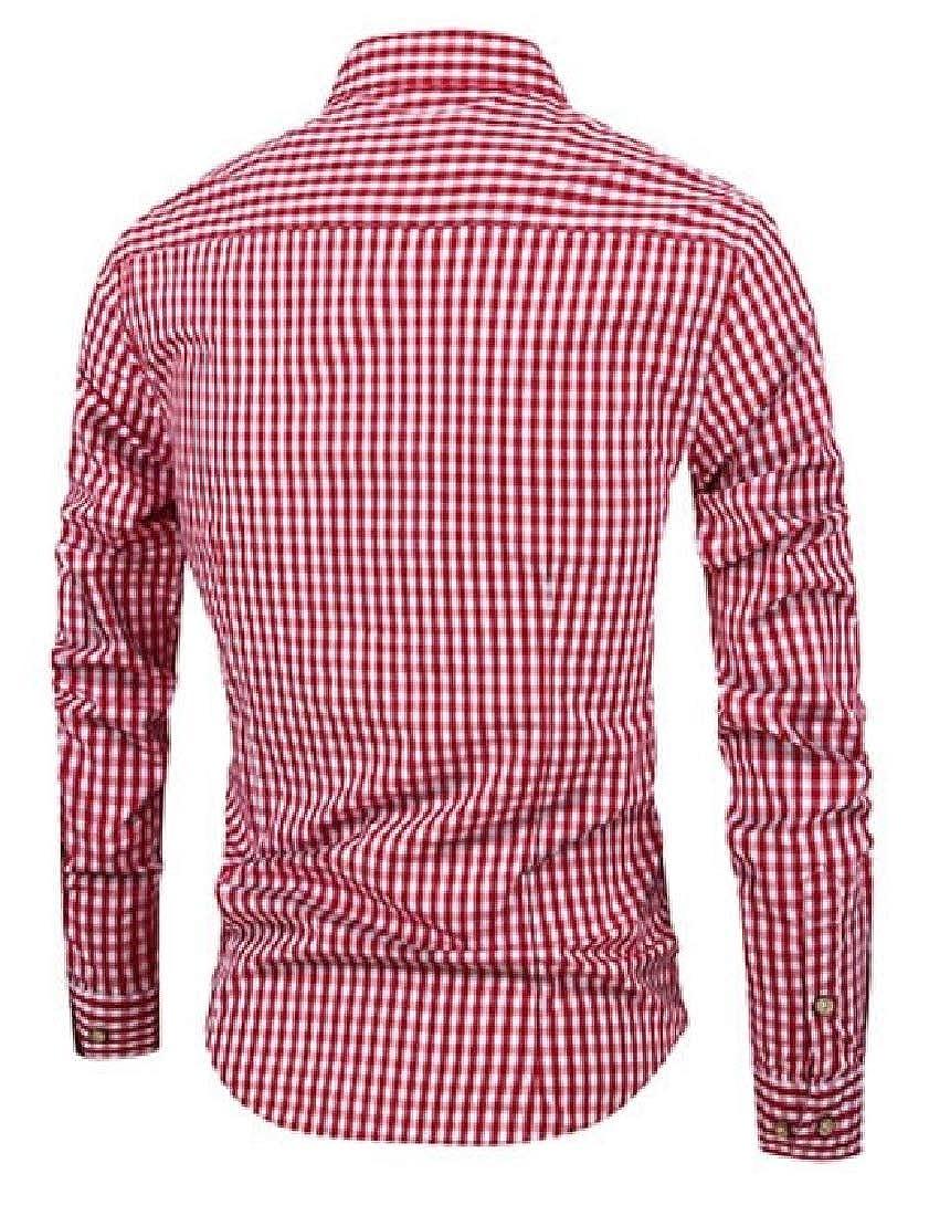 GAGA Men Long Sleeve Plaid Casual Mandarin Collar Button Down Dress Shirts