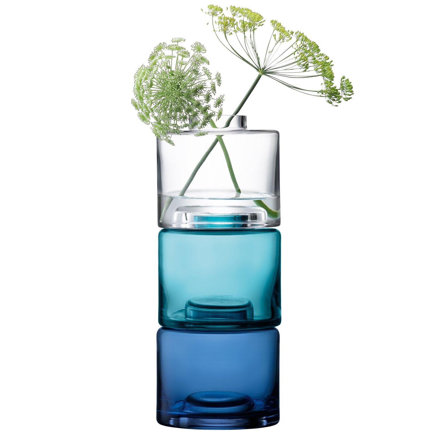 LSA International Stack Vase Trio, H11.8, Clear/Blues X 3, Assorted by LSA International